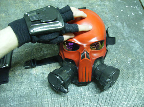 Red punisher gas mask + gloves by DarkAsylumxxx