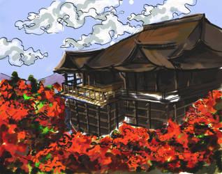 Kiyomizu Dera digital ukiyo e by momoiroispink