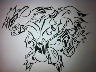 Tribal White Kyurem by AwyrSente