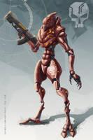 Red gangster mech by AspectusFuturus