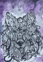 Zentangle wolf by FLO311