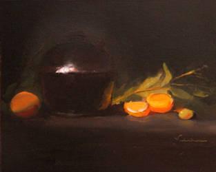 Black Pot and Oranges by Valerhon