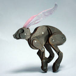 Running Grey Articulated Hare by Ribena-Warrior