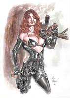 Black Widow watercolor by AllPat