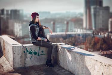 InFAMOUS: Delsin Rowe rooftop by MarikaGreek