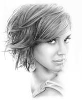 Jessica Alba Pencil Portrait Drawing in Graphite by JonARTon