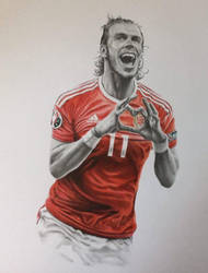 Gareth Bale in Graphite and Colored Pencil by JonARTon
