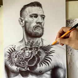 Conor Mcgregor in Black Ballpoint Pen on A3 by JonARTon