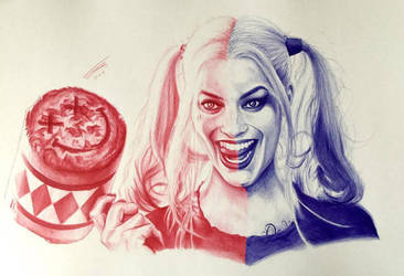 Harley Quinn in Ballpoint Pen by JonARTon