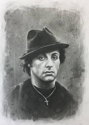 Rocky Balboa Charcoal Drawing by JonARTon