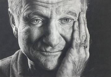 Robin Williams Charcoal Drawing by JonARTon