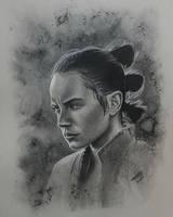 Rey drawn in charcoal by JonARTon