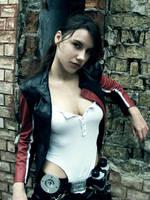 Lara Croft biker - portrait by TanyaCroft