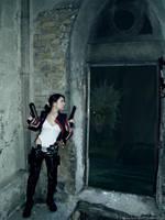 Lara Croft vs Snake monster by TanyaCroft