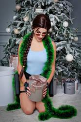 Christmas Lara Croft cosplay - happy by TanyaCroft