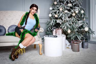 Christmas Lara Croft cosplay - comfortable sofa by TanyaCroft