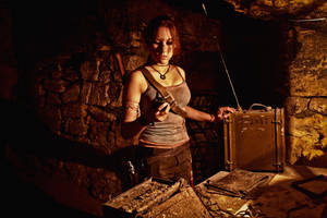 Lara Croft REBORN cosplay - try to call for help by TanyaCroft