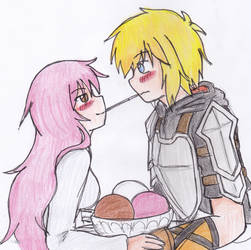 RWBY fanfic fanart:Her White,Pink,and Brown Knight by KegiSpringfield