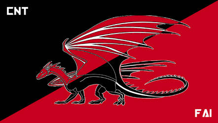 Draconic CNT-FAI Syndicalist Flag by TheCommunistDragon