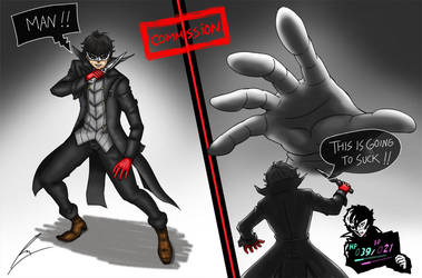 Commission: P5 Joker Vs Master Hand by borockman