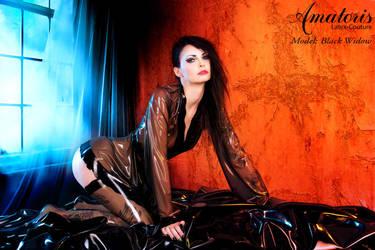 Black Widow Latex-Kimono (gown) by AmatorisLatexCouture