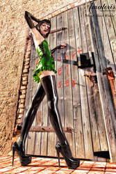 Black Widow Green-Latex-Dress (2) by AmatorisLatexCouture