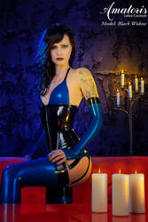 Black Widow Blue Latex Lingerie by AmatorisLatexCouture