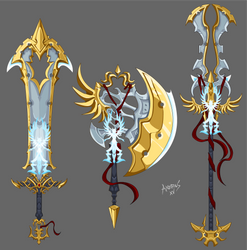 White Witch and Warlock weapons by Axeros