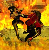 X-23 vs Red She-Hulk by hotrod5