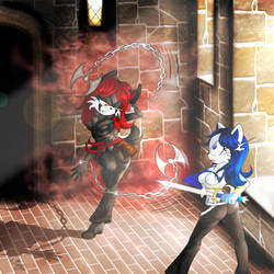 COMMISSION - Sapphire and Scarlet fighting by Martyna-Chan