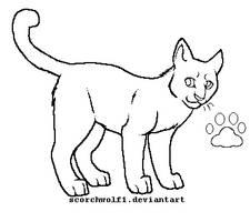 Cat Lineart by ScorchWolf1