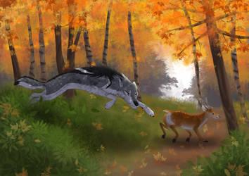 Deerhog hunting in a strange new place by Shadowphoenix21