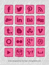 Handmade Social Media Icons by Designbolts