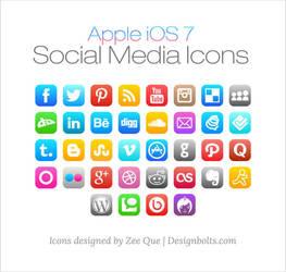 Apple iOS 7 Social Media Icons by Designbolts