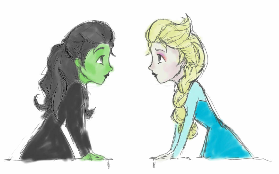 Image result for elsa and elphaba