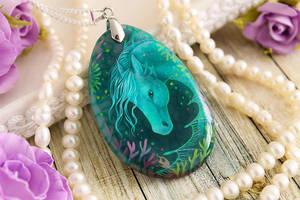 Hippocamp/kelpie - handmade painted stone pendant by LunarFerns