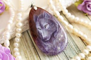 Violet wolf, crystal spirit - stone pendant by LunarFerns