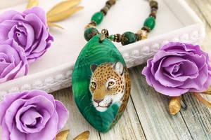 Jaguar II - handmade painted stone pendant by LunarFerns