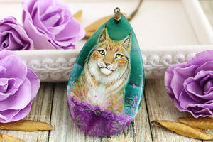 Lynx in purple flowers  - hand painted pendant by LunarFerns
