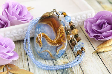 Dragon in the sky I - hand painted stone pendant by LunarFerns