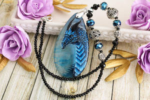 Sapphire dragon II  - hand painted stone pendant by LunarFerns