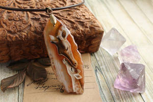 Mother's love - hand painted agate pendant by LunarFerns