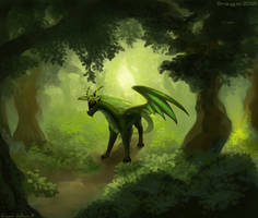 Smaugust #9 - Forest dragon by Floverale-Hellewen