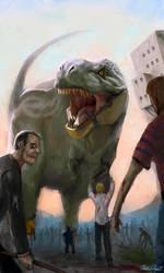 T-Rex vs. Zombies by Kanaru92