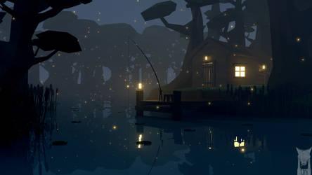 low poly - swamp fishing by xxxscope001xxx