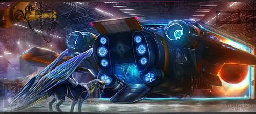 Space hangar by GlowingSpirit