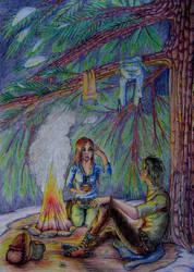 Under pine tree by Talestriss