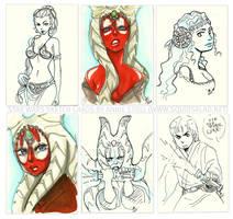Star Wars Sketch Cards by Tsubasa-No-Kami