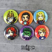 Avengers Chibi Buttons by Tsubasa-No-Kami
