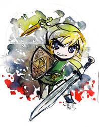 Toon Link Watercolor by Tsubasa-No-Kami